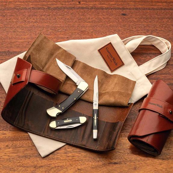 Leather Pocket Knife Roll + 3 Knives Set