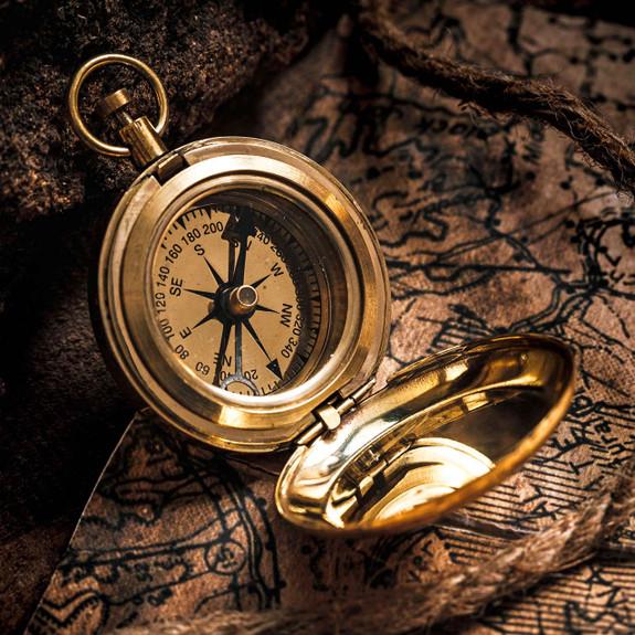 Push-Button Brass Compass