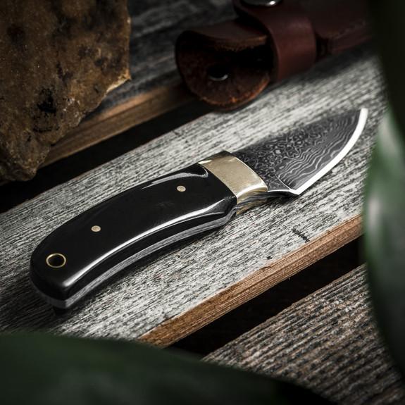 Short Damascus Fixed-Blade Knife