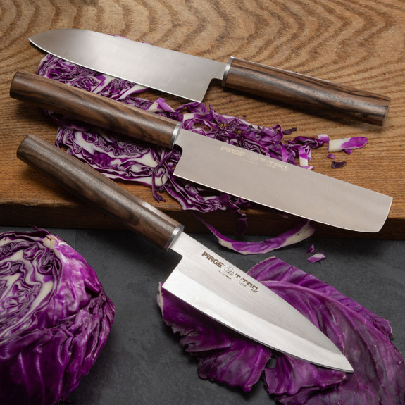 Set of Three Japanese-Style Kitchen Knives + a Cleaver