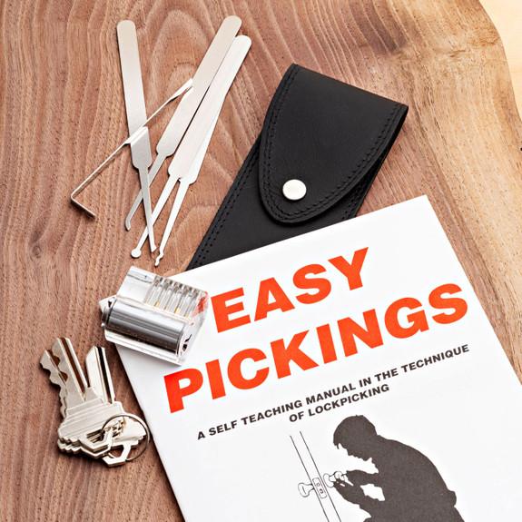 A Five-Piece Lock Pick Set + A Visible Pin Tumbler Practice Lock