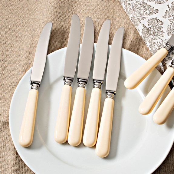 """12 piece table knife set in color  """"Pearl White"""""""
