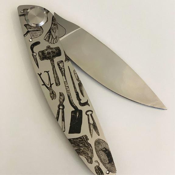 Engraved Garden Tool Folding Knife