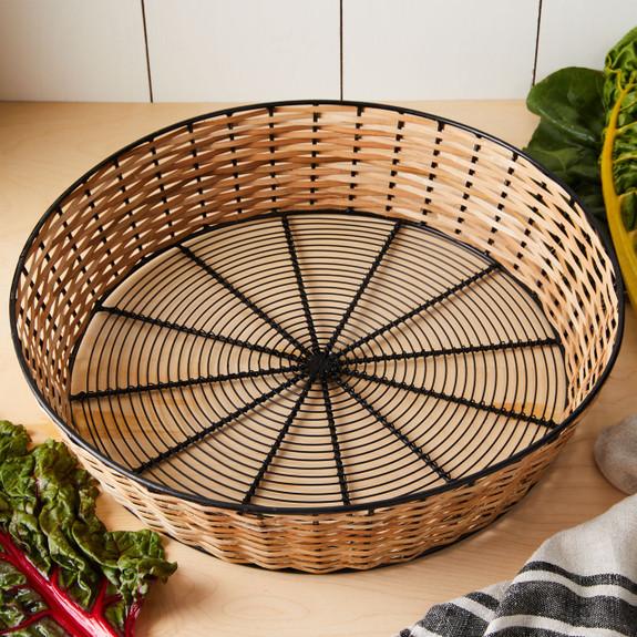 Iron & Woven Bamboo Basket