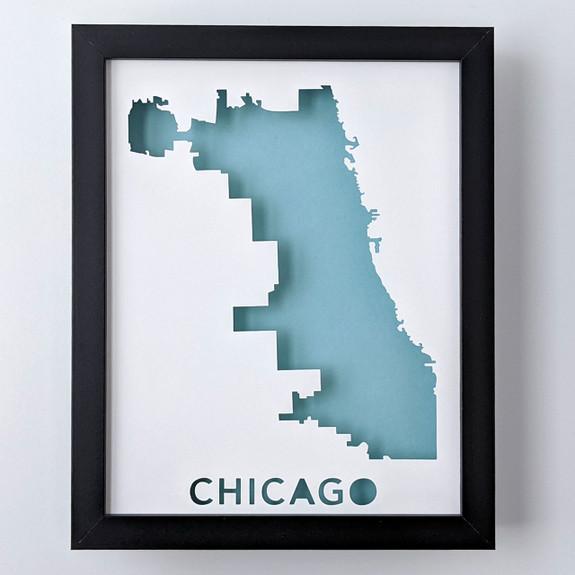 Chicago Map Shadowbox