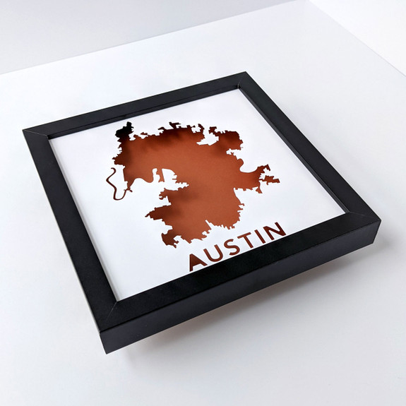 Austin TX Map Shadowbox