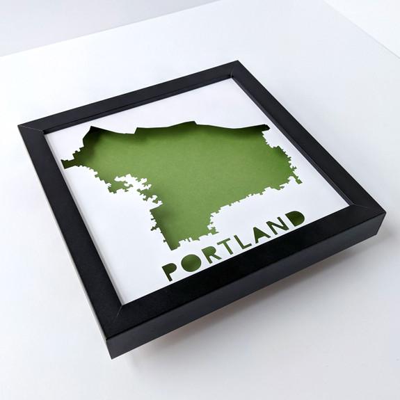 Portland OR Map Shadowbox