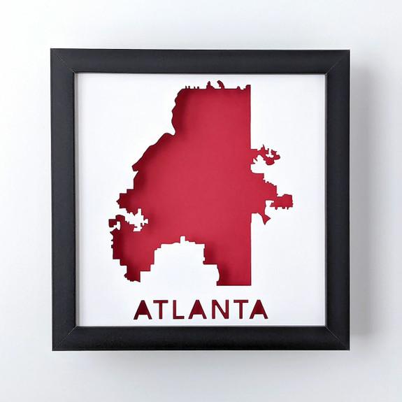 Atlanta GA Map Shadowbox