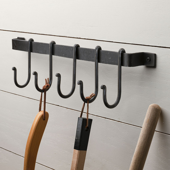 Forged Flat Iron Rack with 5 S-Hooks