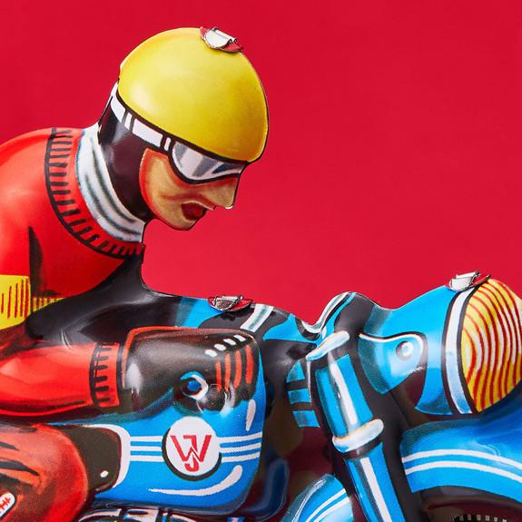 Blue Tin Toy Motorbike