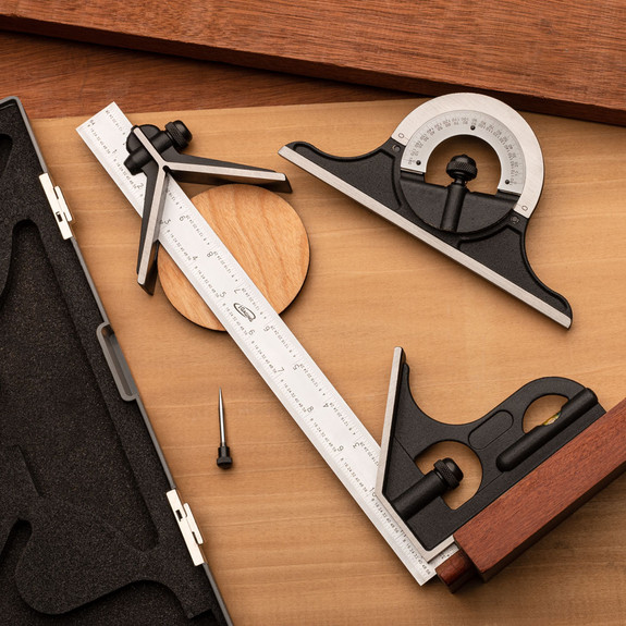 """Four Piece 12"""" Combination Square, Protractor & Center Finding Set"""