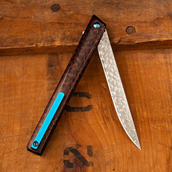 Damascus Pen Knife Wood Handle