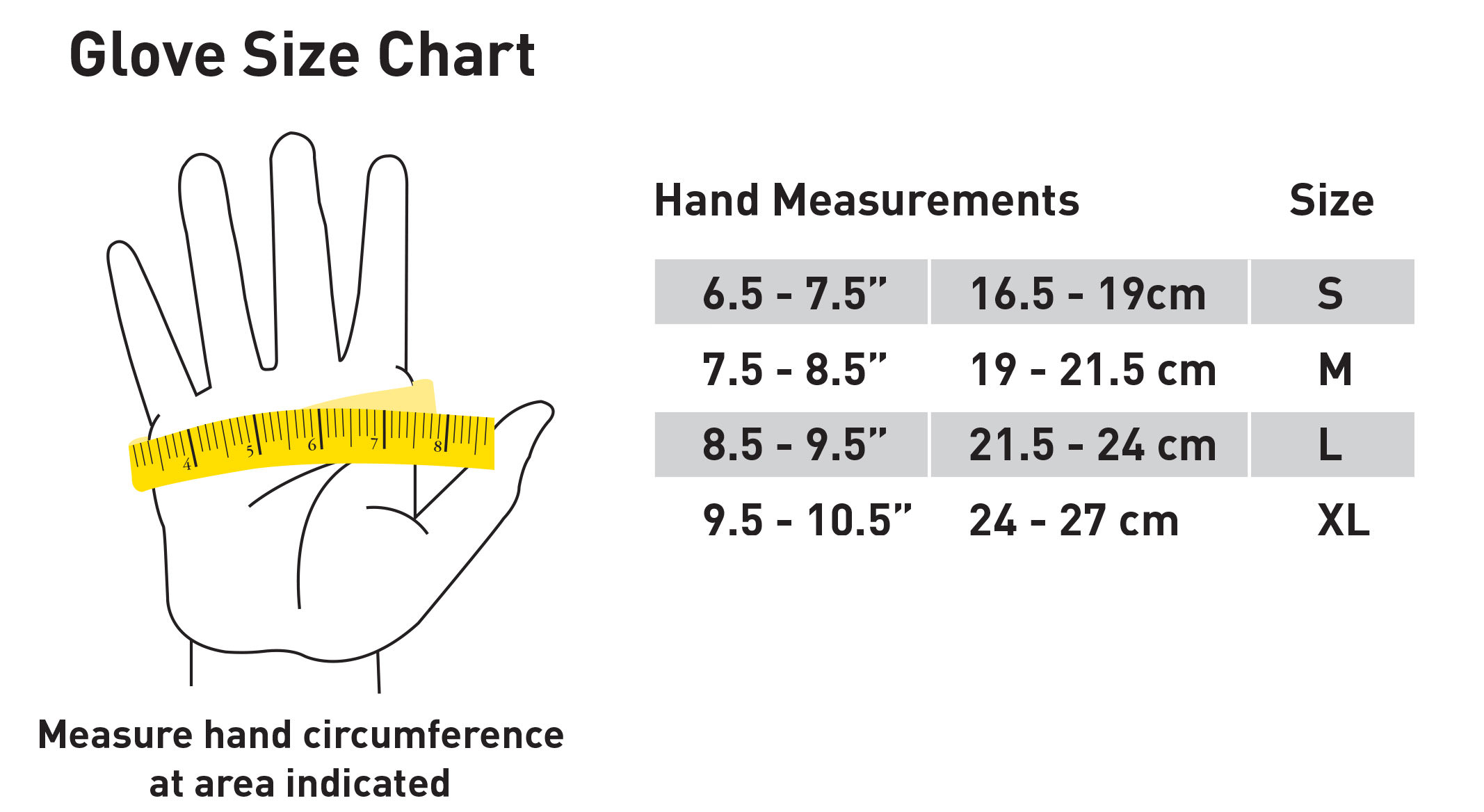 Size Chart Gardening Gloves