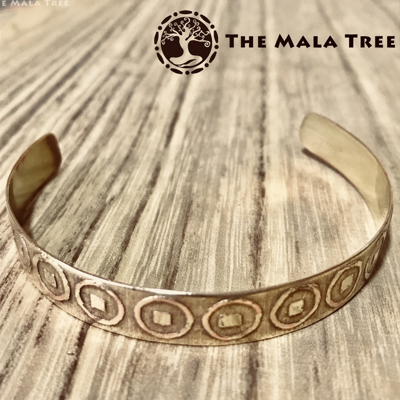 THE LUCKY COIN Brass Healing Bangle (Handmade) - The Mala Tree 1ec44bb58e3