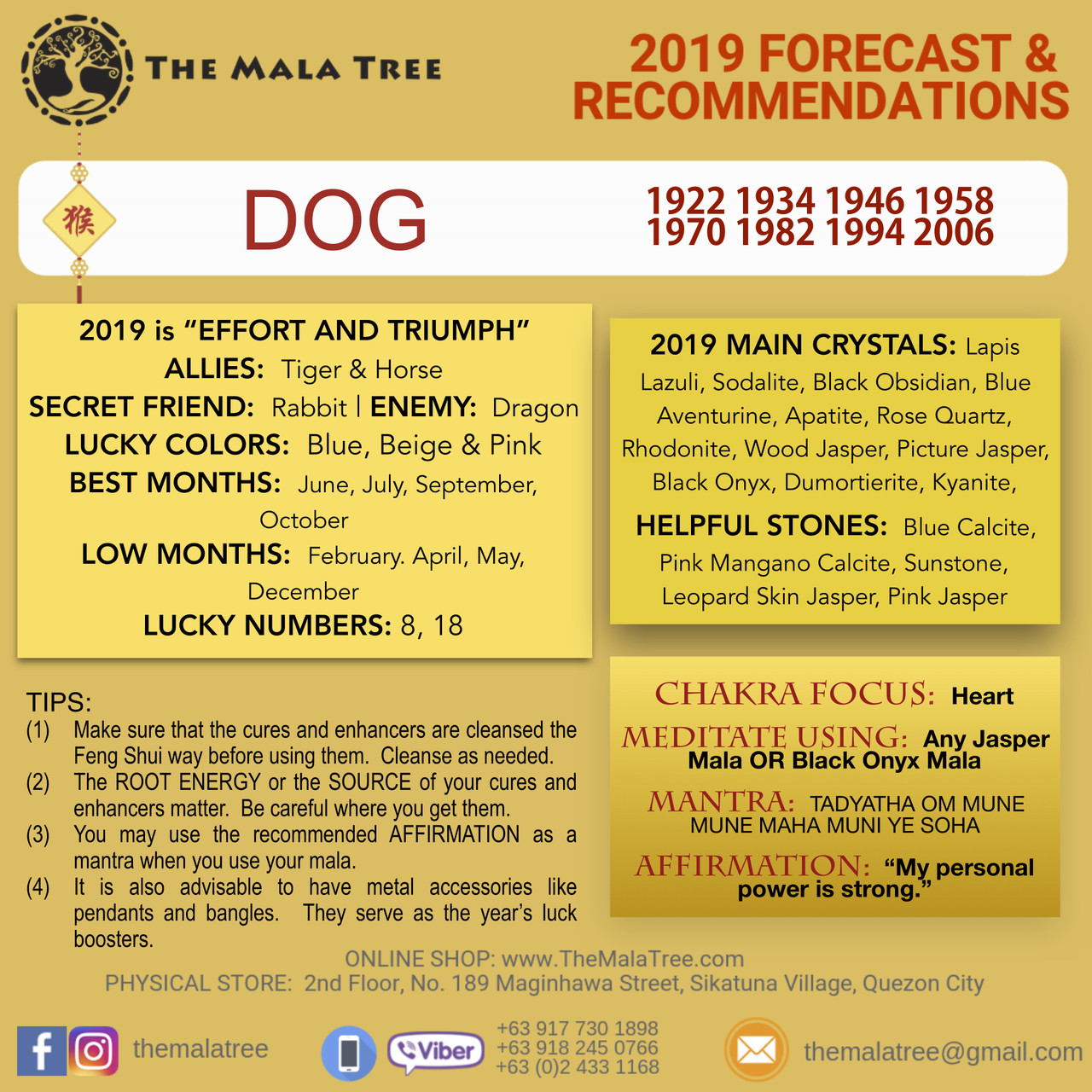 2019 Feng Shui Chinese Horoscope Forecast Crystals The Mala Tree