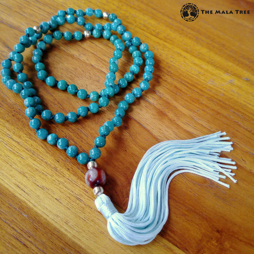Tibetan AMAZONITE WITH GOLD & MONEY HOOK DZI GURU Mala