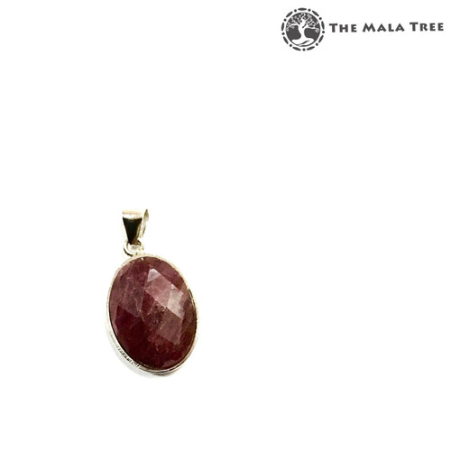 RED TOURMALINE Faceted Cabochon Lux Pendant (Set in High Quality Silver)