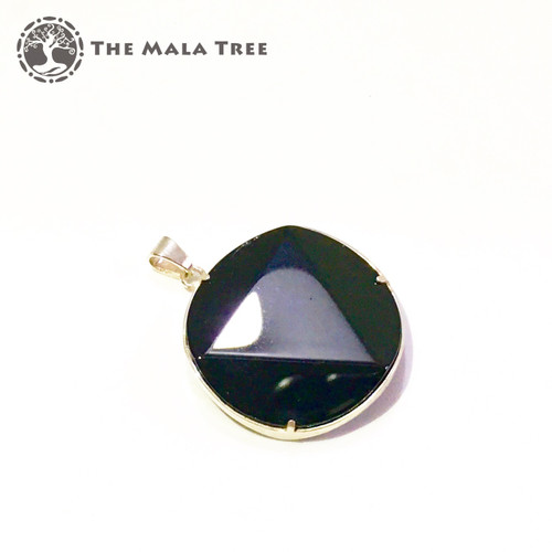 BLACK TOURMALINE Star of David Pendant (Framed in Silver)