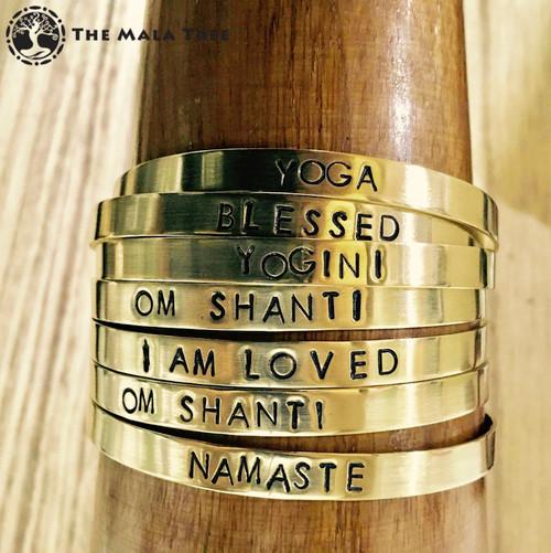 OM SHANTI Brass MantraCuff (100% Handmade / Adjustable)
