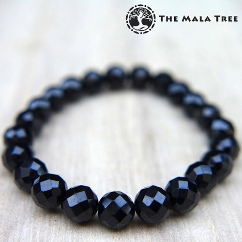 BLACK SPINEL Faceted Bracelet 7mm