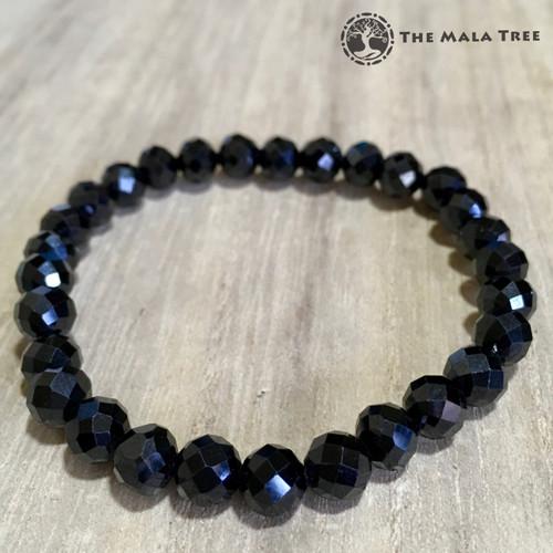 BLACK SPINEL Faceted Bracelet 7mm