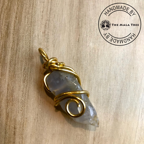 BLUELACE AGATE Wire Wrapped Pendant (WRAG-00006BLA)