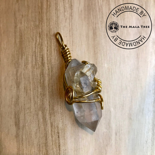 HERKIMER DIAMOND [5 Crystal Points] Wire Wrapped Pendant (WRAG-00017)