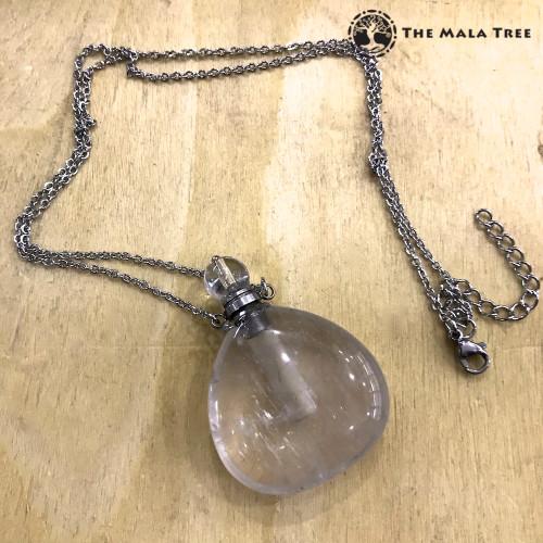 CLEAR QUARTZ Essential Oil Bottle Necklace