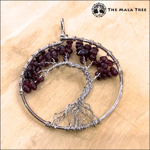 GARNET Tree of Life Wire-Wrapped Pendant