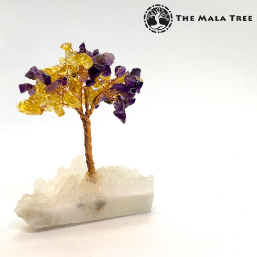 CITRINE and AMETHYST Gem Tree (on Quartz)