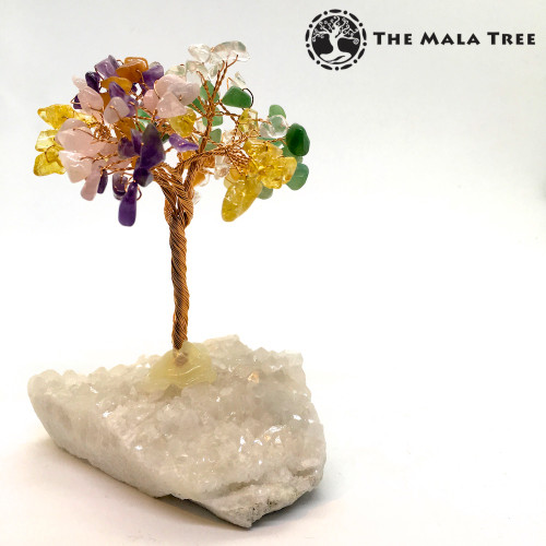 MIXED GEMSTONES Gem Tree (on Quartz)