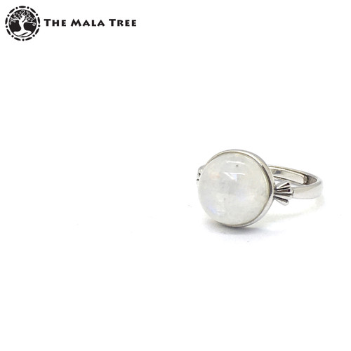RAINBOW MOONSTONE Adjustable Silver Ring