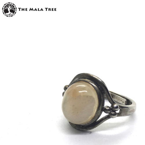 SAKURA AGATE Adjustable Silver Ring
