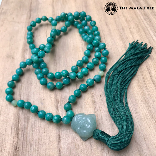 Zen-Style AMAZONITE with Aventurine Buddha of Happiness Guru Mala