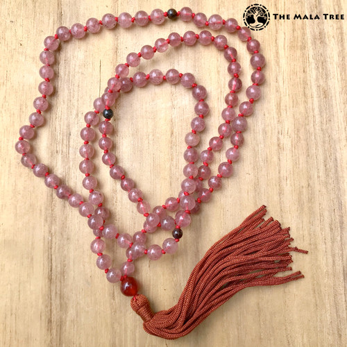 Tibetan-Style High Quality STRAWBERRY QUARTZ Mala with Garnet Markers and Carnelian Guru