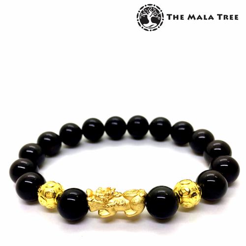 BLACK OBSIDIAN Piyao Money Ball Bracelet (Real Gold-Plated Silver)