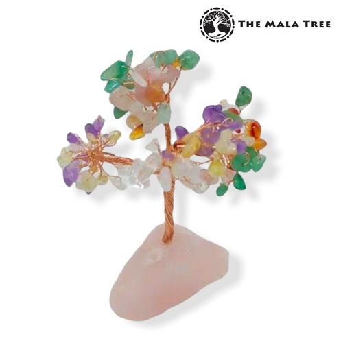 MIXED GEMSTONES Gem Tree on Rose Quartz