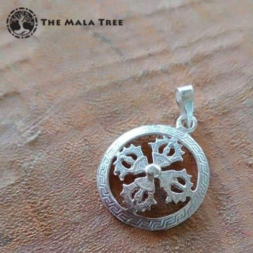 Double Dorje Silver Pendant (Handmade with High Quality Silver)