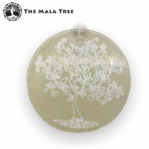 Selenite Tree of Life Round Charging Plate