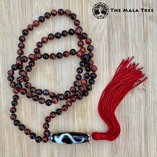 RED TIGER'S EYE RUYI DZI 108 Mala (Lone Piece)