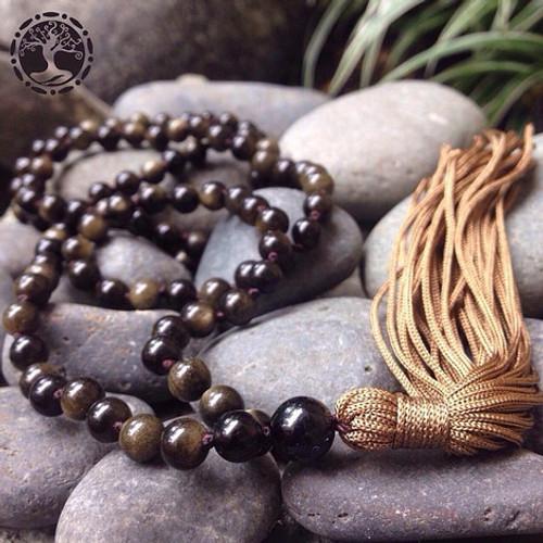 GOLD-SHEEN OBSIDIAN Classic 108 Japa Mala