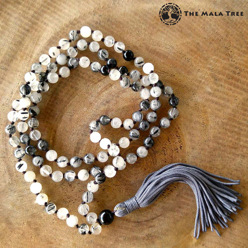 TOURMALINATED QUARTZ Classic 108 Japa Mala