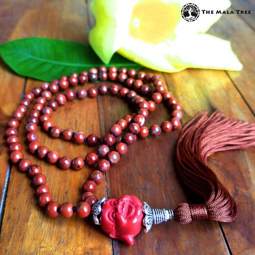 RED JASPER & CINNABAR BUDDHA OF HAPPINESS Bespangled 108 Mala