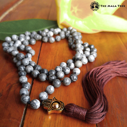 GRAY JASPER WITH GOLD & HAMSA Bespangled 108 Mala