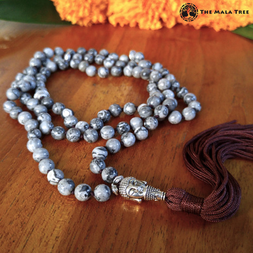 GRAY JASPER WITH MEDITATING BUDDHA Bespangled 108 Mala