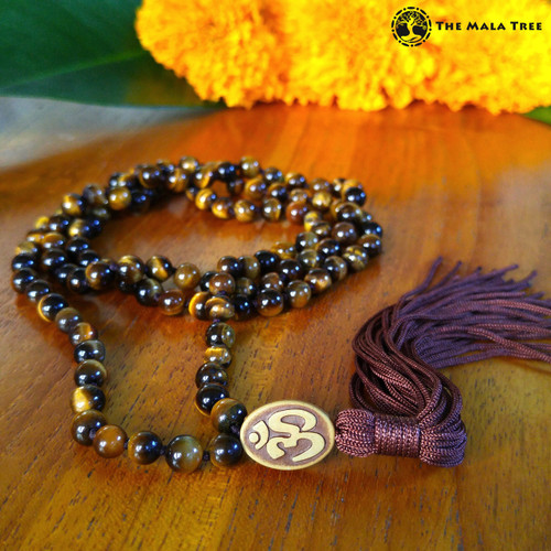 GOLD TIGER'S EYE OM Bespangled 108 Mala