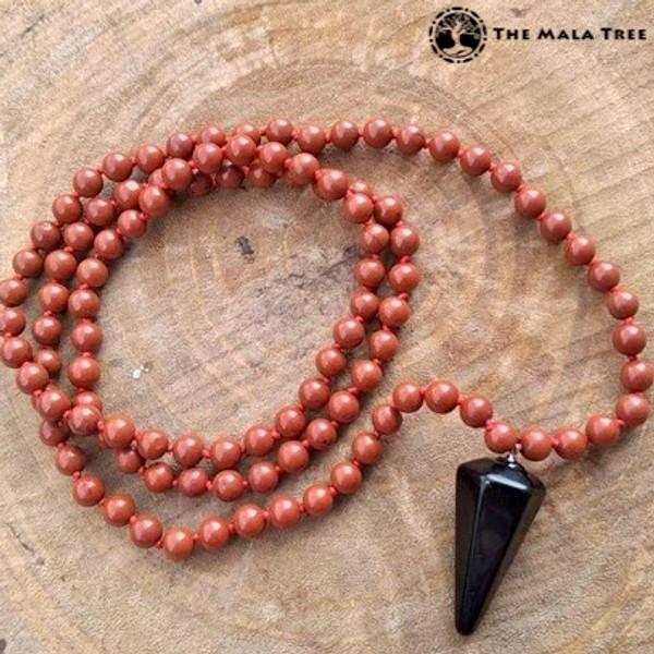 RED JASPER Classic 108 Japa Mala with ONYX Pendulum Guru