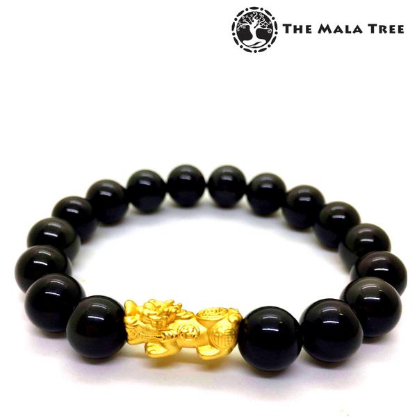 BLACK OBSIDIAN Piyao Bracelet (Real Gold-Plated Silver)