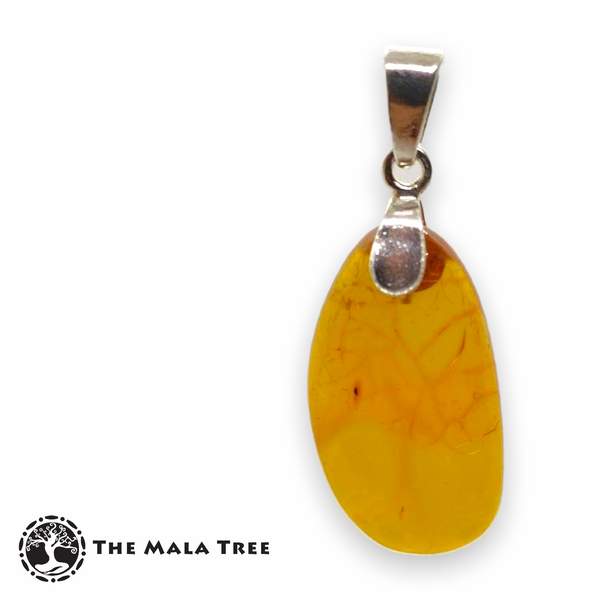 Natural Amber Pendant 2 (with Silver Bail)