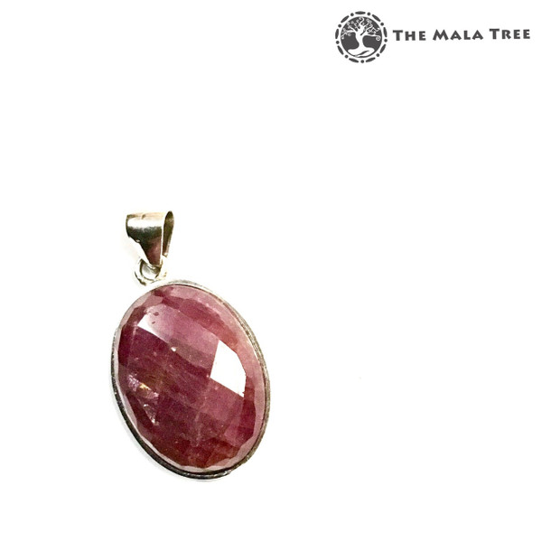 RUBY Faceted Cabochon Pendant (Set in High Quality Silver)